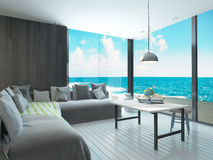 Maritime style living room interior with cozy couch and sea view Stock Image
