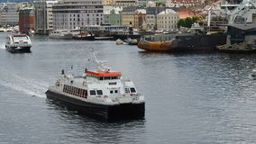 Maritime traffic Bergen Norway stock video