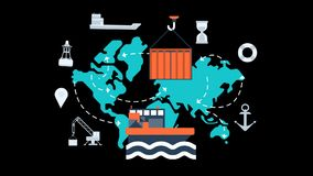 Maritime transport global logistics network animation transparent vector video
