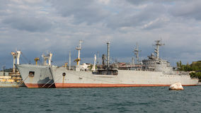 Maritime transport of weapons General Ryabikov in the Bay Black Sea. Royalty Free Stock Images