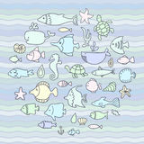 Maritime, vector set, fish in the waves Stock Image