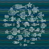 Maritime, vector set, fish in the waves Stock Photography