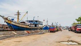 Maritimt i Semarang Indonesien Arkivfoton