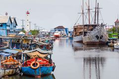 Maritimt i Semarang Indonesien Arkivbilder