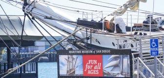 Maritimt museum av San Diego - SAN DIEGO - KALIFORNIEN - APRIL 21, 2017 royaltyfri foto