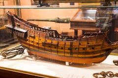 Maritimt museum i Madrid historia av de spanska historiska kulturföremålen för marinskeppmodeller royaltyfria foton