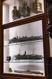 Maritimt museum i Madrid historia av de spanska historiska kulturföremålen för marinskeppmodeller royaltyfri foto