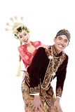 Marito e moglie tradizionali felici delle coppie di nozze di Java Fotografia Stock