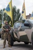 Mariupol, Украина 12-ое июня 2016 парад предназначенный к второй годовщине высвобождения города Mariupol Стоковые Изображения RF