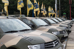 Mariupol, Украина 12-ое июня 2016 парад предназначенный к второй годовщине высвобождения города Mariupol Стоковое фото RF