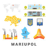 Mariupol concept. Set of objects describing Mariupol, Ukraine. Vector pack of flat icons. Map of Ukraine, Donetsk region. Tetrapod as symbol of Mariupol Stock Images