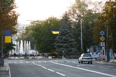 MARIUPOL, DE OEKRAÏNE - SEPTEMBER 6, 2016: De Oekraïne Centrum van Mariupol-stad royalty-vrije stock foto's