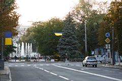 MARIUPOL, UCRÂNIA - 6 DE SETEMBRO DE 2016: Ucrânia Centro da cidade de Mariupol fotos de stock royalty free