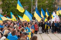 Mariupol, Ucraina - può, 03 2015 la riunione pubblica per la smilitarizzazione di Shirokino immagini stock libere da diritti