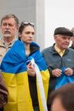 Mariupol, Ucraina - può, 03 2015 la riunione pubblica per la smilitarizzazione di Shirokino immagine stock