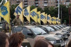 Mariupol, Ucrania 12 de junio de 2016 el desfile dedicado al segundo aniversario de la liberación de la ciudad de Mariupol Fotografía de archivo libre de regalías