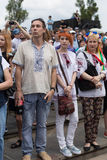 Mariupol, Ukraina Czerwiec 12 2016 parada dedykująca drugi rocznica wyzwolenie miasto Mariupol Zdjęcie Stock