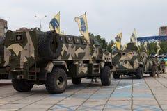 Mariupol, Ukraina Czerwiec 12 2016 parada dedykująca drugi rocznica wyzwolenie miasto Mariupol Fotografia Royalty Free