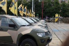 Mariupol, Ukraine am 12. Juni 2016 die Parade eingeweiht dem zweiten Tag der Befreiung der Stadt von Mariupol Lizenzfreie Stockbilder