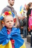 Mariupol, Ukraine -, 03 kann 2015 die öffentliche Versammlung für die Entmilitarisierung von Shirokino Lizenzfreies Stockbild
