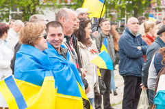 Mariupol, Ukraine - May, 03 2015.  the public meeting for the demilitarization of Shirokino. Stock Photography
