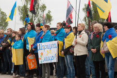 Mariupol, Ukraine - May, 03 2015.  the public meeting for the demilitarization of Shirokino. Stock Images