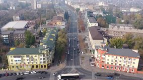 Timelapse City street aerial view. Mariupol Ukraine. MARIUPOL, UKRAINE - OCTOBER 24, 2019 : Timelapse City street aerial view stock footage