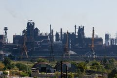 MARIUPOL, UKRAINE - SEPTEMBER 5, 2016: Azovstal Iron and Steel Works. MARIUPOL, UKRAINE - SEPTEMBER 5, 2016: Azovstal Iron and Steel Manufacture royalty free stock images