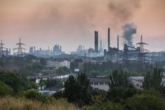 MARIUPOL, UKRAINE - SEPTEMBER 4, 2016: Azovstal Iron and Steel Works. At evening Stock Image