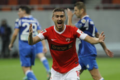 Marius Alexe - Dinamo Bucharest reaction. Marius Alexe, forward of Dinamo Bucharest Royalty Free Stock Photography