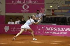 Mariya Koryttseva. KHARKIV, UKRAINE - APRIL 24: Ukrainian tennis player Mariya Koryttseva during her Fed Cup, 2010 World Group Play-Off singles match vs Royalty Free Stock Image