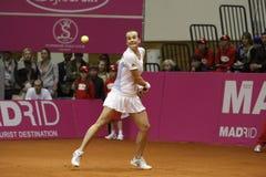 Mariya Koryttseva. KHARKIV, UKRAINE - APRIL 24: Ukrainian tennis player Mariya Koryttseva during her Fed Cup, 2010 World Group Play-Off singles match vs Royalty Free Stock Photography