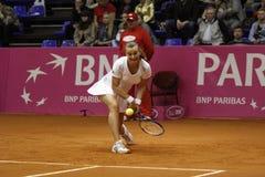 Mariya Koryttseva. KHARKIV, UKRAINE - APRIL 24: Ukrainian tennis player Mariya Koryttseva during her Fed Cup, 2010 World Group Play-Off singles match vs Royalty Free Stock Photos