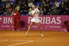 Mariya Koryttseva. KHARKIV, UKRAINE - APRIL 24: Ukrainian tennis player Mariya Koryttseva during her Fed Cup, 2010 World Group Play-Off singles match vs Royalty Free Stock Images