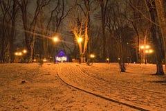 Mariyinsky park w wczesnym poranku Wijąca ścieżka prowadzi fontanna która dekorował z iluminować girlandami Zdjęcie Stock