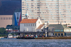 Marizon Chapel and Entertainment with Momochi Beach. FUKUOKA, JAPAN - NOVEMBER 19, 2016: Crowds watch the Louis Vuitton America`s Cup World Series from Marizon Royalty Free Stock Photo