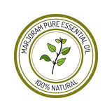 Marjoram, essential oil label, aromatic plant Royalty Free Stock Photos