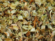 Marjoram Spice. Pile of dried marjoram spice stock images