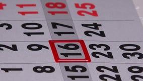 Markör för finger för affärskvinna driftig röd på kalendersidan arkivfilmer