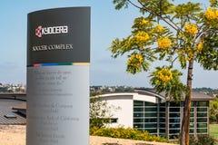 Markör för platsen för utbildning för Kyocera fotboll den komplexa för olympiska idrottsman nen Arkivfoton