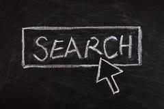 Markör med sökandeknappen Arkivbild