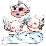Markörillustrationsamling av mini- svin med vingar på ett moln stock illustrationer