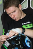 Mark Aitchison Kawasaki ZX-10R Pedercini. Mark Aitchison - Kawasaki ZX-10R - Team Pedercini in the world Superbike Championship SBK Stock Image