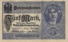 5 Mark - Banknote. Historical note 5 marks - Germany year of issue, 1917. Blue color, girl on right side royalty free stock photography