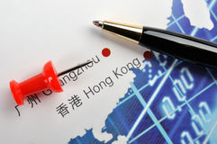Mark of business in Hongkong, China. Ball pen and drawing pin on Southern china map, shown as Business or industrial analysis or developing, such as marketing Royalty Free Stock Image