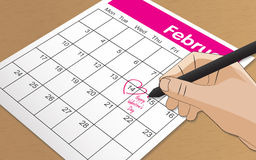 Mark on the calendar at 14 feb. Pink color Vector Illustration