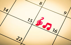 Mark on the calendar with music simbol Stock Photo