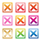 Mark X in check box. Different color green red crosses. No icons in frame for websites, applications, highlight Royalty Free Stock Photos