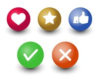 Mark check o.k.,cancel, like, voting and rating vector icon set,. Hand with thumb up, star and heart symbol in color 3d circle buttons with shadow Royalty Free Stock Photo