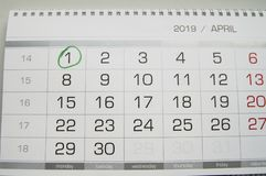 Mark a circle on the calendar date of April 1, the feast of fool`s Day, laugh, humor, jokes.  royalty free stock image